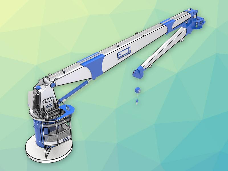 Hydraulic Boom Joint : Et marine cranes knuckle boom crane